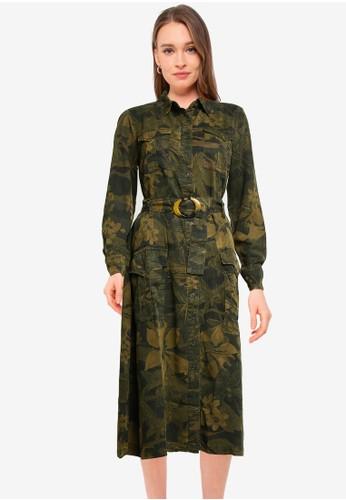Desigual green Long Flared Shirt Dress 55703AA6E98C2CGS_1
