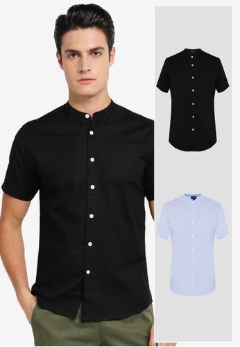 ZALORA black and blue 2 Pack Slim Fit Mandarin Collar Oxford Short Sleeve Shirt ZA819AA0T28RMY_1