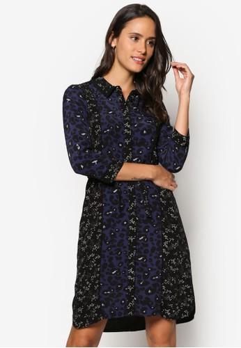 混合印花襯衫長袖連身esprit 鞋裙, 服飾, 洋裝