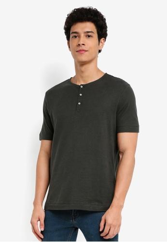 MANGO Man beige Slub-Cotton Henley T-Shirt E2310AA267110CGS_1
