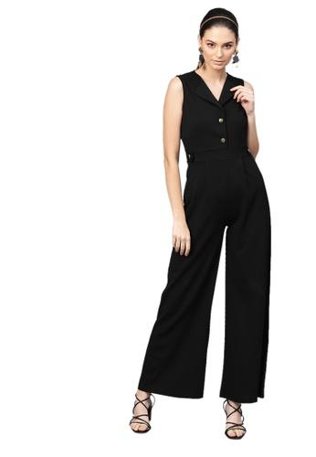 SASSAFRAS black Black Collared Flare Leg Jumpsuit 65F83AAB17736CGS_1