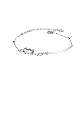 Glamorousky silver Simple Temperament Geometric Cylinder 316L Stainless Steel Bracelet 12F20AC11EA9A6GS_1