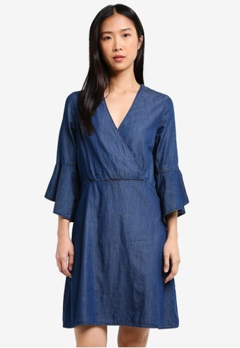 Dorothy Perkins blue Indigo Bell Sleeve Wrap Denim DO816AA0RY1RMY_1