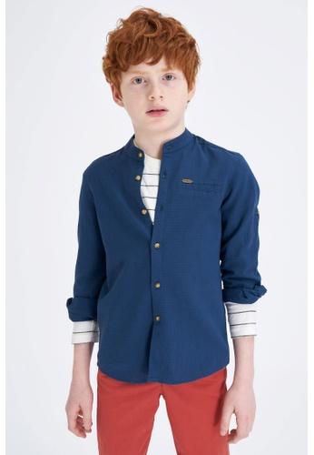DeFacto navy Long Sleeve Cotton Shirt DEE11KAB39D055GS_1