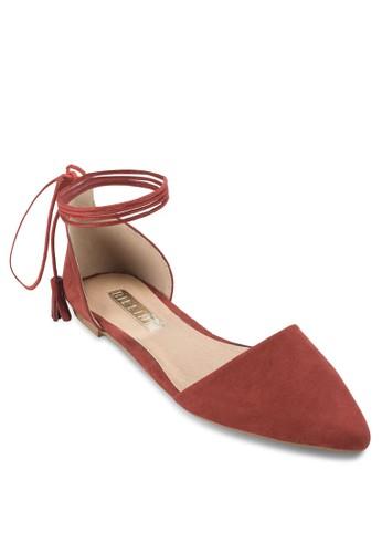 Saviour zalora 評價繫帶側鏤空平底鞋, 女鞋, 鞋