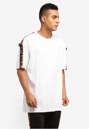 Flesh IMP white Esteem Fire Taping Oversized T-Shirt 39636AAE3EE09BGS_1