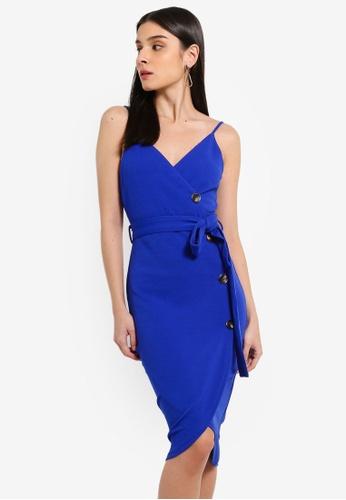AX Paris blue Blue Button Front Detail Tie Dress 1121BAAA3DD4D2GS_1