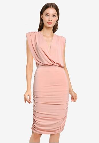Goddiva pink Wrap Style Bodycon Mini Dress FB79DAAAEC8652GS_1