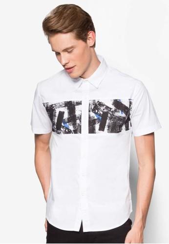 印花拼及短袖esprit 包襯衫, 服飾, 襯衫