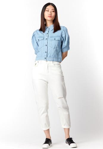 What To Wear Puffy Sleeve Denim Crop Top in Light Blue E6D6BAADB1C74DGS_1