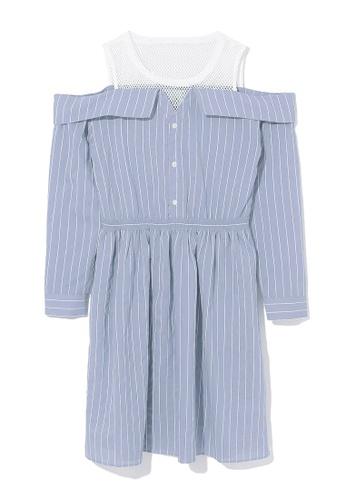 b+ab blue Shoulder cutout stripe dress 58207AA088744CGS_1