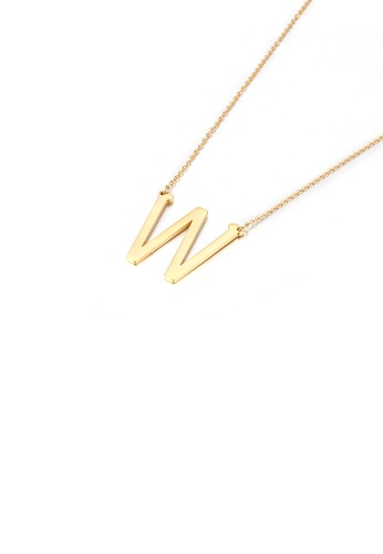 Glamorousky silver Simple and Fashion Plated Gold English Alphabet W 316L Stainless Steel Pendant with Necklace 3457DACDC3D27BGS_1