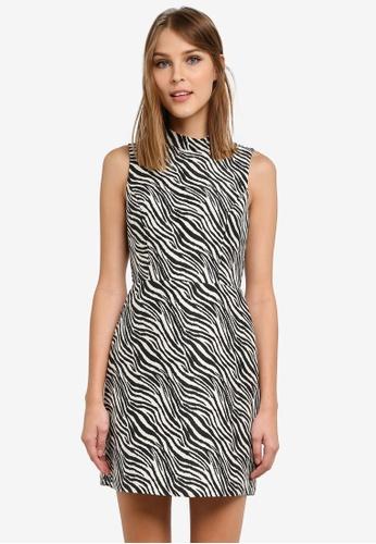 WAREHOUSE black Zebra Shift Dress WA653AA0SCTQMY_1
