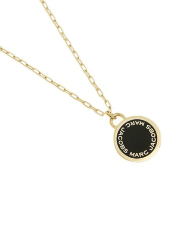 Marc Jacobs black and gold Marc Jacobs Enamel Logo Disc Pendant Necklace M0008546 Black Gold 6975CAC88B7862GS_1