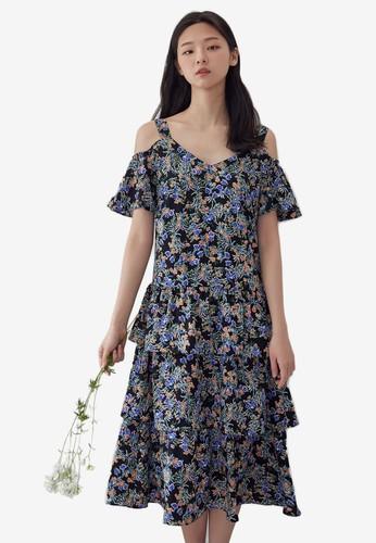 NAIN navy Cold Shoulder Floral Dress 62E4EAAF890906GS_1
