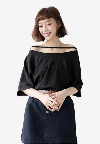 Tokichoi black Casual Uneven Neck Top 1C32FAA1E9585FGS_1