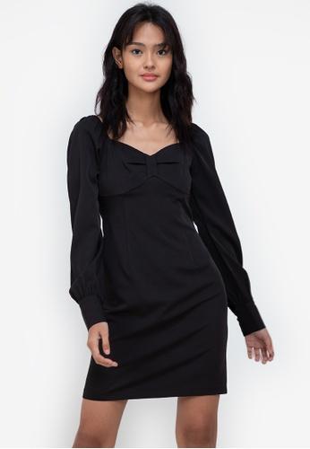 ZALORA BASICS black Full Length Puff Sleeve Mini Dress 1EA28AA7AA9E2AGS_1
