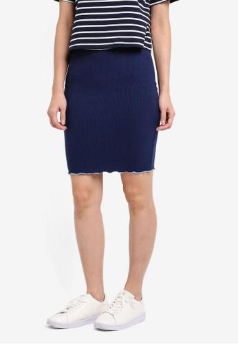 Something Borrowed blue Contrast Detail Rib Skirt A8215AA506DE3DGS_1