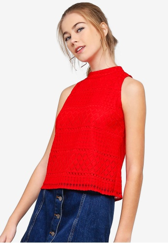 Something Borrowed red Sleeveless Cut In Lace Top 5B0D1AA4025C2AGS_1