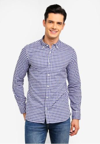 MANGO Man navy Slim-Fit Gingham Check Shirt E4599AAE3AE3A6GS_1