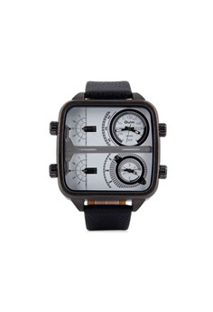 OULM 4 Time Zones Military Sports Watch