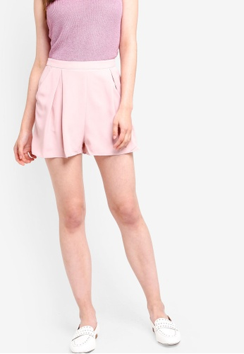 Something Borrowed pink Waist Tie Pleated Shorts 0CCF2AA624E2F7GS_1