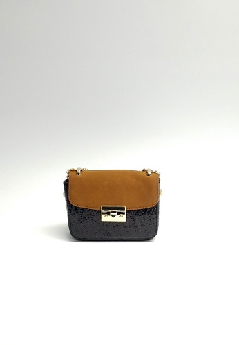 Lara black and multi Women's Small Front Flap Sling Bag A3DC5AC97C44CFGS_1