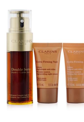 Clarins CLARINS - Double Serum Extra-Edition Set: Double Serum 50ml + Extra-Firming Day Cream 15ml + Extra-Firming Night Cream 15ml + Bag 3pcs+1bag 51CC7BE6BE33CBGS_1