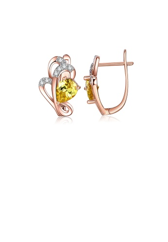 Glamorousky white Fashion Simple Plated Rose Gold Flower Earrings with Yellow Cubic Zirconia ECE7EACF9C2ED3GS_1