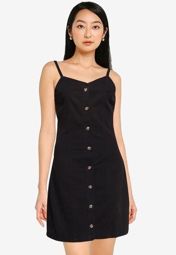 ZALORA BASICS black Button Front Denim Mini Dress 2B17AAAB454565GS_1