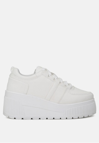 London Rag white Casual Lace up Sneakers with Chunky sole 39176SHAA29433GS_1
