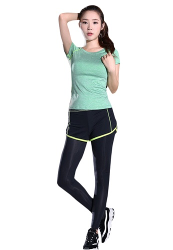 B-Code green ZYG5148-Lady Quick Drying Running Fitness Yoga Sports Top and Leggings with Shorts-Green 4C17EAA4AD281EGS_1
