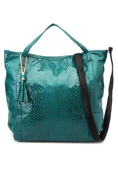 Jacqueline Faux Snakeskin Tote Bag