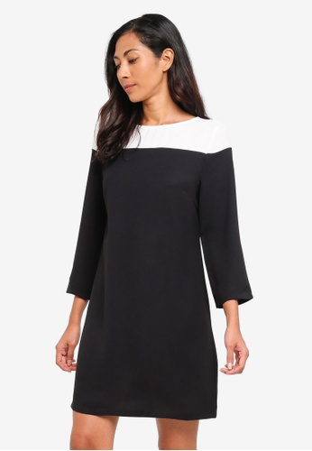 ZALORA BASICS black Basic Colourblock Yoke Dress 199E1AA35EEF09GS_1