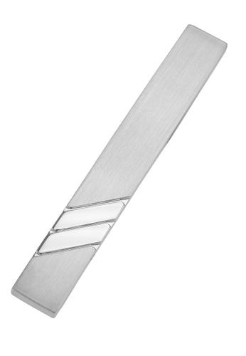 CUFF IT silver 50mm Shiny Reep Stripe and Brush Silver Tie Clips CU047AC2UQ7SHK_1