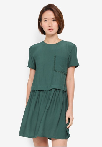 ZALORA green Boxy Crewneck Dress E98AFAAEF93655GS_1