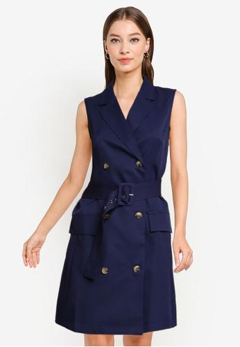 ZALORA WORK navy Double Breasted Blazer Mini Dress 63E3CAAEC8B1B8GS_1