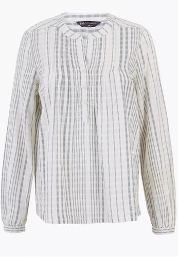 MARKS & SPENCER multi Cotton Striped Long Sleeve Blouse ECCF1AA2FD4B4BGS_1