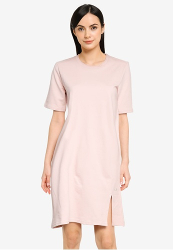 UniqTee pink Smooth Cotton French Terry Tee Dress 28EFCAA9CD140EGS_1