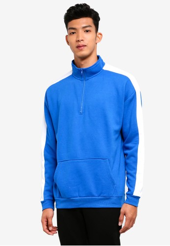 Factorie white and blue Sports Quarter Zip Jumper 7A265AA02E559AGS_1