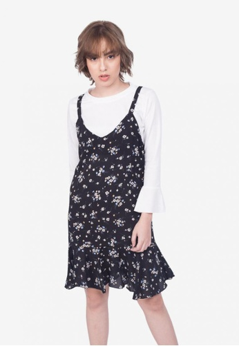 Somura black Two in One Floral Dress AB54AAA208955AGS_1