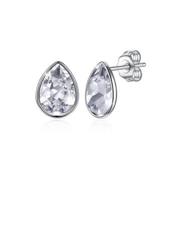 Glamorousky white 925 Sterling Silver Simple Water Drop Shape White Austrian Element Crystal Stud Earrings 8588DAC2EB7596GS_1