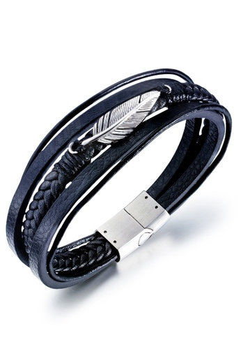 Trendyshop black Men's Leather Bracelet 85847AC7FA5A67GS_1