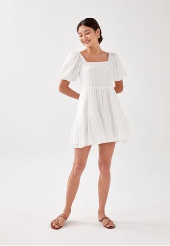 Love, Bonito white Junia Textured Swing Dress 8982EAAE975212GS_1