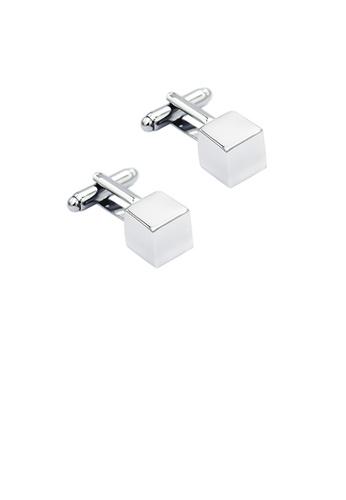 Glamorousky silver Fashion Simple Three-dimensional Geometric Square Cufflinks D6E32ACD742A6DGS_1