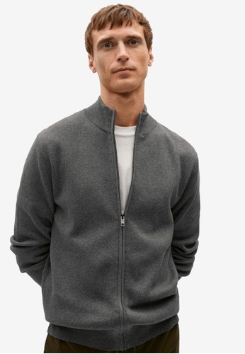 MANGO Man grey Zipper Cotton Cashmere Cardigan A8EE0AAFAEC8EFGS_1