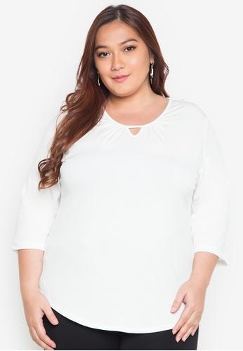 Maldita X white Plus Size Maldita X Shirt With Keyhole MA587AA0JCI8PH_1