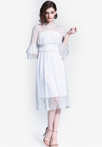 Sunnydaysweety white Ruffle Sleeve Lace One Piece Dress 04B9CAA0E08E81GS_1