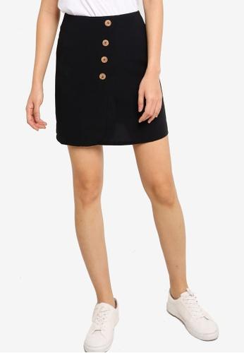 ZALORA BASICS black Button Detail Mini Skirt 15F66AA4EBEF41GS_1