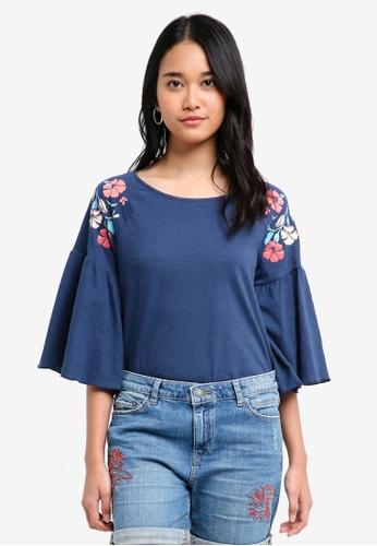 ESPRIT blue Short Sleeve Blouse 552DAAA5C06B58GS_1